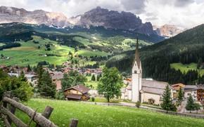 Картинка трава, облака, деревья, горы, Италия, Italy, Dolomites, Доломиты, Alta Badia, Альта Бадия