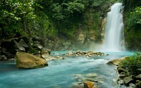 Картинка зелень, камни, водопад, Коста-Рика