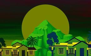 Картинка горы, дома, Луна, векторная графика