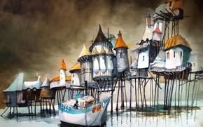 Картинка лодка, рисунок, домики