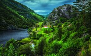 Картинка деревья, горы, Норвегия, домики, фьорд