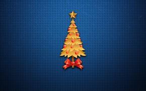 Картинка Минимализм, Рождество, Фон, Новый год, Праздник, Арт, Art, Настроение, Ёлка, New Year, Background, Minimalism, Snowflakes