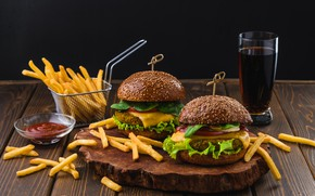 Картинка Гамбургер, картофель, фри, Фастфуд, Бургер, пепси-кола, Kamran Aydinov