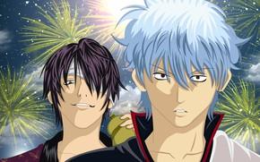 Картинка парни, салюты, Gintama, Гинтама