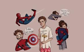 Картинка арт, комиксы, Роберт Дауни мл, Тони Старк, Том Холланд, Питер Пакер, Spider Man Homecoming, Человек …