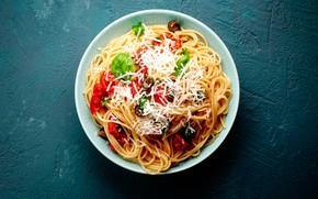 Картинка сыр, овощи, помидоры, оливки, макароны