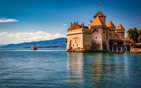 Картинка пейзаж, природа, озеро, замок, Швейцария, Женевское озеро, Шильон, Александр Безмолитвенный