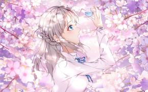 Картинка цветы, шар, сакура, девочка