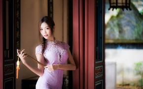 Картинка девушка, платье, веер, азиатка