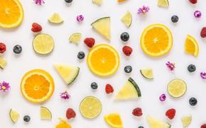 Картинка ягоды, малина, черника, лайм, цитрус, фрукты, ананас, дольки