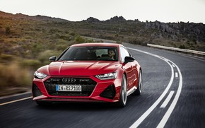 Картинка дорога, car, машина, горы, Audi, скорость, red, спереди, красная машина, едет, red car, Audi RS7, …