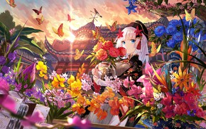 Картинка девушка, цветы, красота