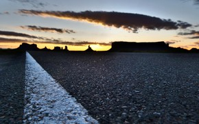 Картинка дорога, закат, фон