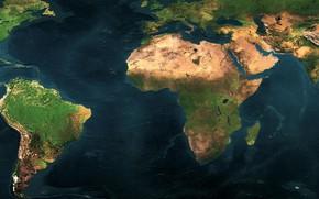 Картинка карта мира, dual monitor, континенты, океaн, 3840 x 1080