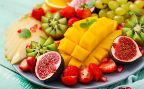 Обои ягоды, апельсин, colorful, киви, клубника, виноград, summer, фрукты, манго, fresh, wood, sweet, strawberry, fruits, berries, ...