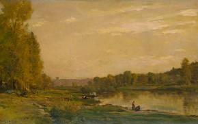 Картинка масло, картина, 1872, Шарль-Франсуа Добиньи, Charles-François Daubigny, Пейзаж с рекой Уазой