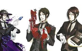 Картинка демон, арт, Kuroshitsuji, Себастьян, тёмный дворецкий