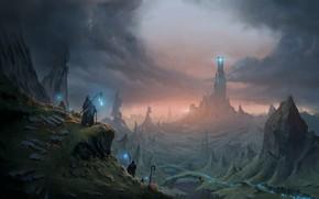 Картинка fantasy, magic, tower, landscape, artist, digital art, artwork, fantasy art, cane, cape, fantasy landscape, Mikael …