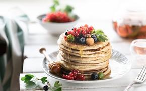 Картинка ягоды, чай, мед, чашка, блины, черники, смородины, малины