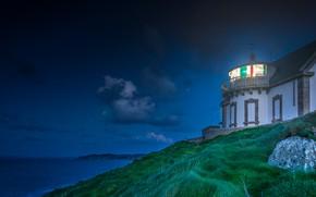 Картинка море, свет, пейзаж, ночь, берег, Франция, маяк, вечер, склон, Бретань, Pointe du Millier
