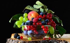 Картинка еда, миска, фрукты, черный фон, натюрморт, много, разные, композиция, ассорти