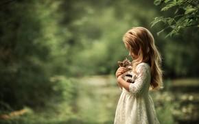 Картинка природа, животное, платье, девочка, детёныш, котёнок, ребёнок, Юлия Кубар