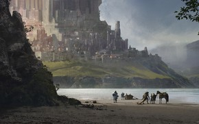Картинка fantasy, sea, landscape, Castle, artwork, boat, warrior, fantasy art, bay, creature, knight, fantasy landscape