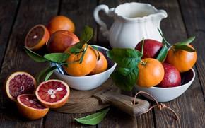 Картинка листья, доски, апельсины, посуда, цитрусы, миски, молочник