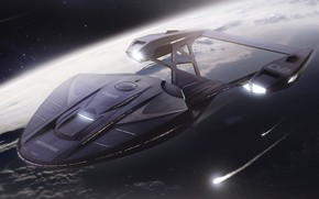 Картинка concept, Космос, Корабль, Fantasy, Space, Art, Enterprise, Star Trek, Космический корабль, Fan Art, Spaceship, Science …