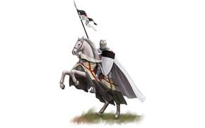 Картинка sword, armor, weapon, just, man, ken, blade, flag, horse, shield, justice, God, knight, helmet, spear, …