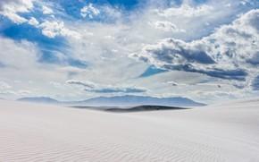 Картинка облака, пустыня, США, Нью-Мексико, белый песок