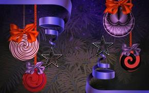 Картинка ленты, праздник, красивый фон, праздничные банты, еловые ветви, рождественские шары