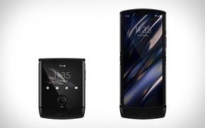 Картинка черный, смартфон, Motorola, 2020, foldable smartphone, складной смартфон, Моторола, раскладушка с гибким экраном, Motorola Razr