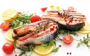 Картинка лимон, рыба, помидоры, специи