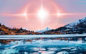 Обои Солнце, Природа, Рисунок, Озеро, Свет, Solar, Aenami, by Aenami, Alena Aenami, by Alena Aenami, Aenami ...