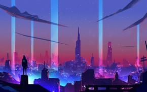 Картинка Ночь, Город, Стиль, City, Fantasy, Art, Style, Neon, Illustration, Surreal, Cyberpunk, Synth, Environments, Retrowave, Synthwave, …