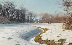 Обои солнечный зимний день, Ein sonniger wintertag, 1902, Peder Mørk Mønsted, Петер Мёрк Мёнстед, датский живописец, ...