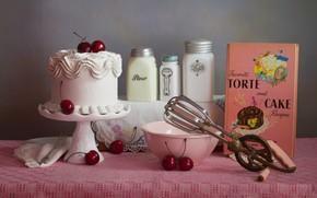 Картинка белый, вишня, стол, стена, розовая, еда, баночки, торт, сахар, книга, миска, серый фон, крем, десерт, …