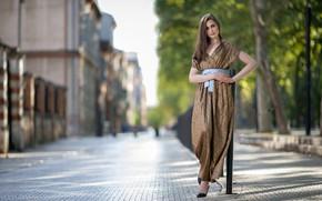 Картинка взгляд, девушка, улица, волосы, платье, боке, Celia