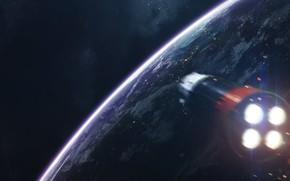 Картинка Звезды, Планета, Космос, Полет, Двигатель, Ракета, Арт, Stars, Space, Art, Космический Корабль, Planet, Universe, Galaxy, …