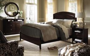 Картинка дом, мебель, кровать, интерьер, подушки, зеркало, спальня