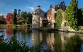 Картинка пейзаж, природа, пруд, замок, Англия, Кент, сады, Scotney Castle, замок Скотни