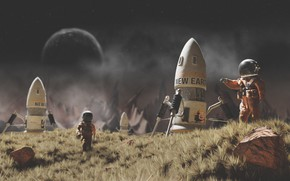 Картинка Скафандр, Космонавт, Ракета, Арт, Ракеты, Art, Космический Корабль, Rockets, Рендеринг, Rendering, Spaceship, Rocket, Скафандры, Космонавты, …