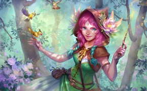 Картинка лес, фея, фэнтези, арт, птички, детская, Oksana Kerro, Flower witch