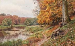 Картинка 1918, датский живописец, Петер Мёрк Мёнстед, Peder Mørk Mønsted, Danish realist painter, Autumn day in ...