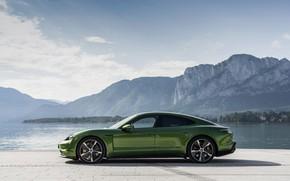 Картинка берег, Porsche, в профиль, Turbo S, 2020, Taycan