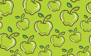 Картинка зеленый, фон, яблоки, текстура