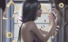 Картинка girl, blood, fantasy, long hair, brunette, digital art, artwork, fantasy art, fantasy girl, symbols, bare …