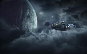 Картинка космос, облака, свет, полет, рендеринг, фантастика, планеты, планета, НЛО, дымка, космический корабль, иллюминаторы, летательный аппарат, …