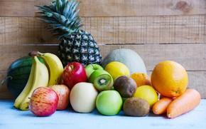 Картинка фон, яблоки, доски, еда, апельсины, арбуз, киви, бананы, фрукты, ананас, овощи, морковь, много, разные, витамины, …